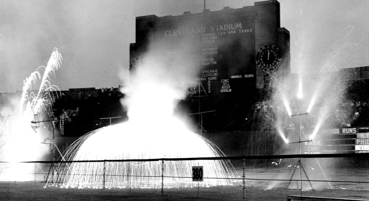 62 years ago: Fireworks in front of Cleveland Stadium during the Festival of Freedom celebrations July, 1957.
